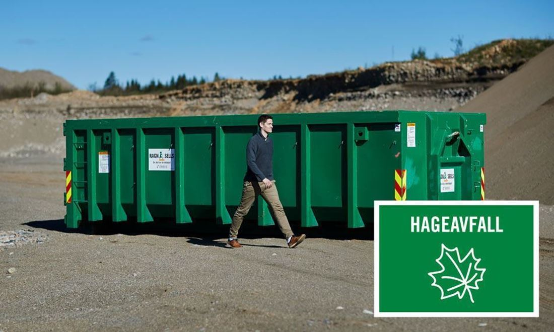 Containerutleie av 20m3 hageavfall.