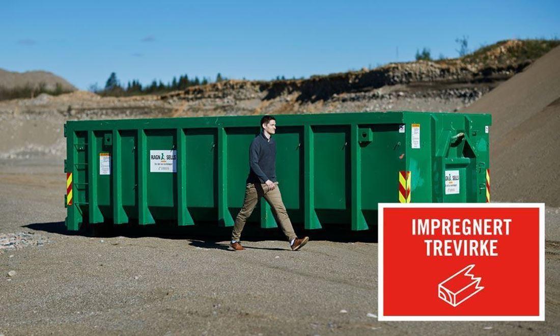 Containerutleie av 20m3 impregnert trevirke.