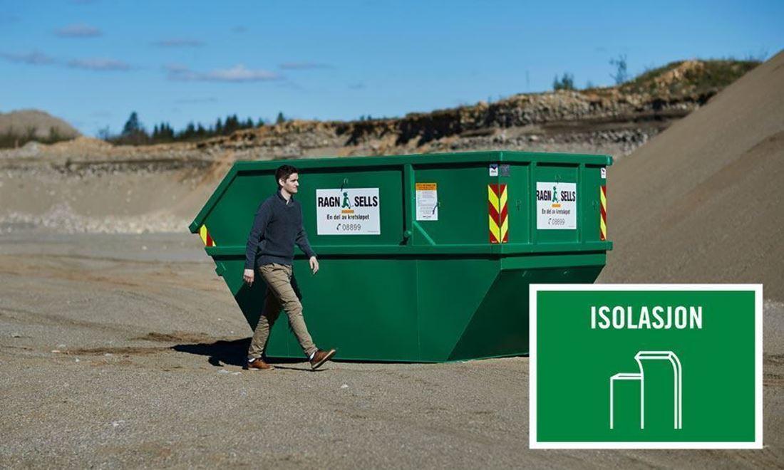 Containerutleie av 10m3 isolasjon.