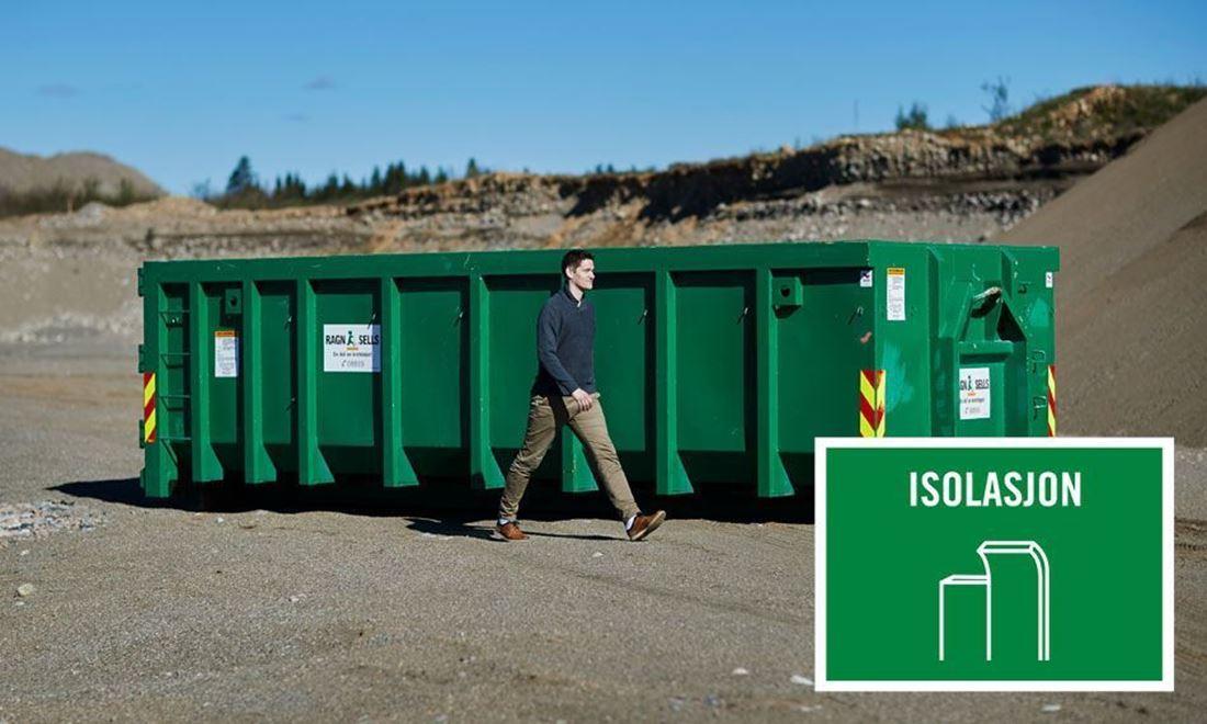 Containerutleie av 20m3 isolasjon.