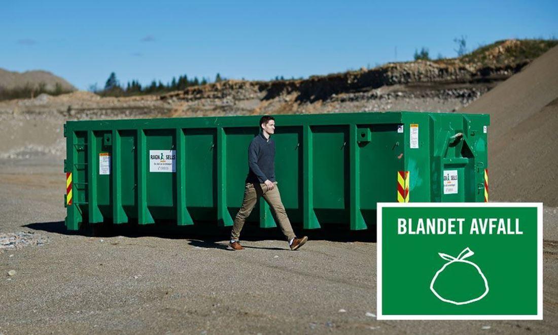 20m3 container for blandet avfall til fastpris.