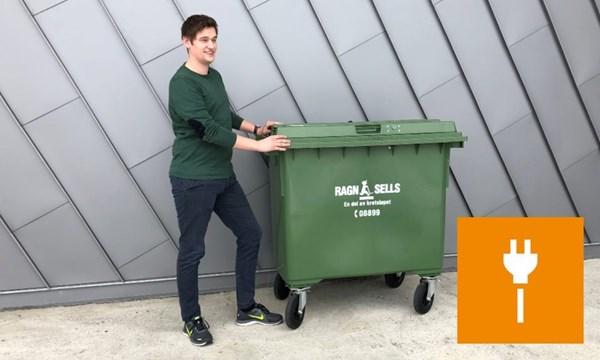 660 liter beholder for blandet elektrisk og elektronisk avfall (EE-avfall).