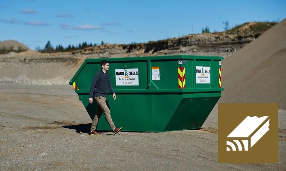 Containerutleie 10m3 blandet trevirke.