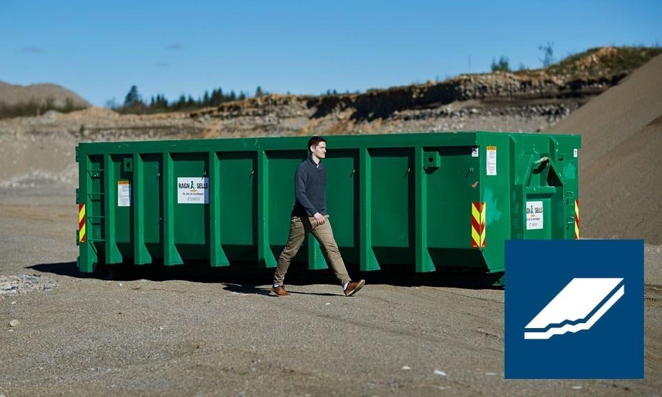 Containerutleie av 20m3 gips.