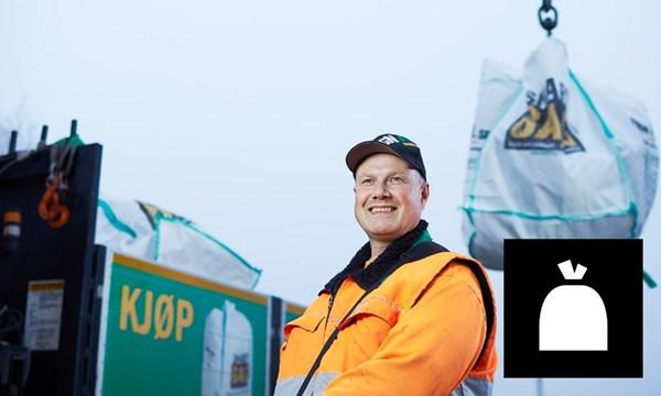 Vi henter medium SmartBag avfallssekk med blandet avfall.