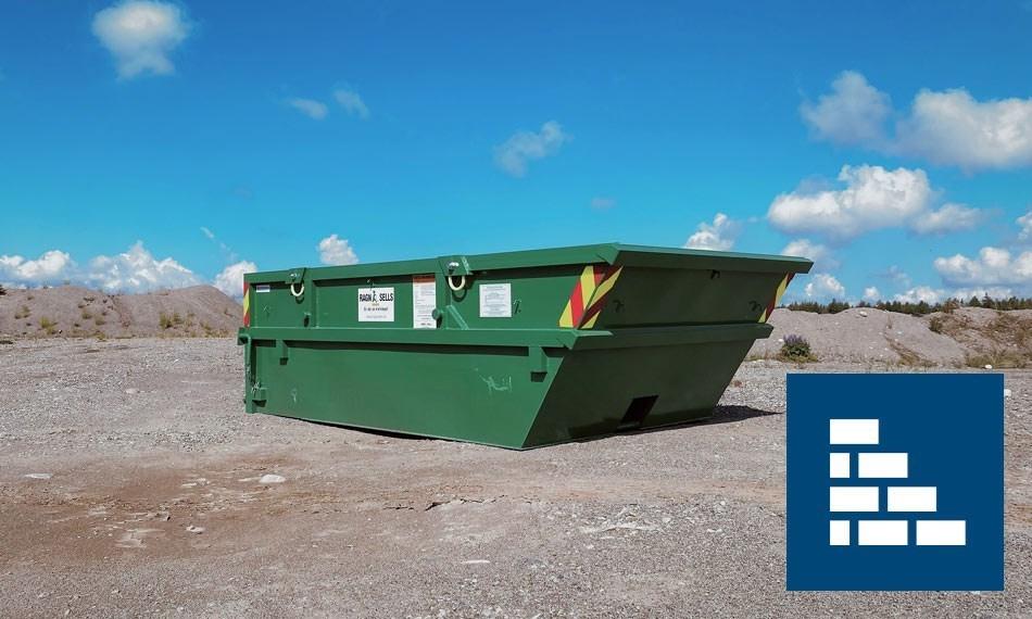 Containerutleie av 5m3 tegl, Leca og takstein.
